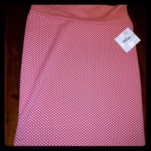 NWT LuLaRoe Cassie Pink and White Dot